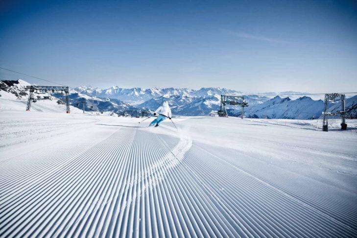 Perfekcyjnie przygotowane stoki i gwarancja śniegu to zalety terenu Zell am See - Kaprun.