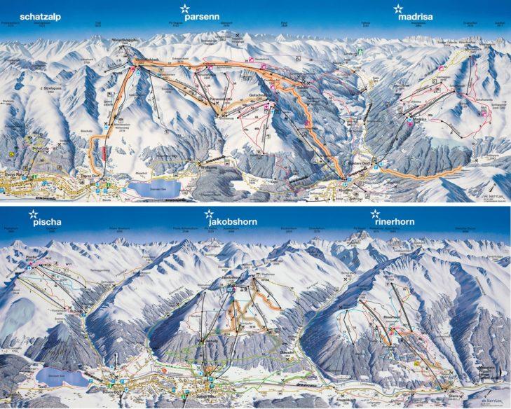 Plan nartostrad Davos Klosters.