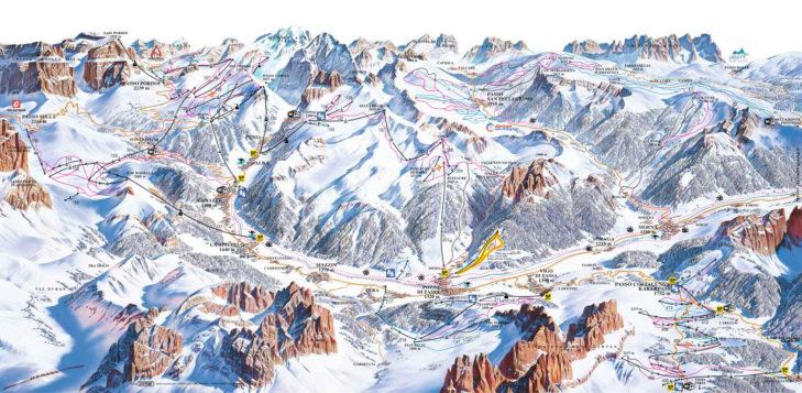 Plan nartrostrad Val di Fassa-Carezza.