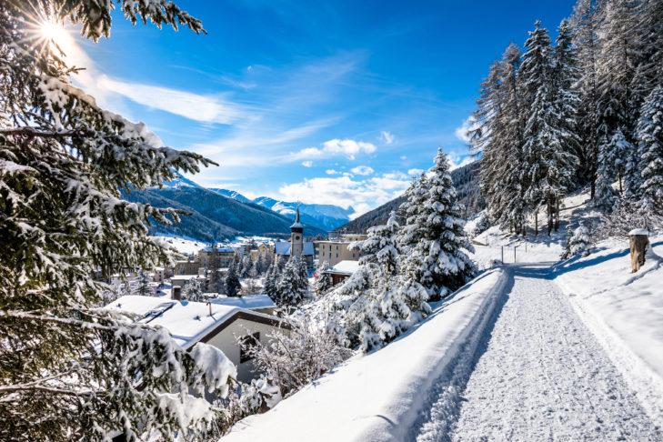 Widok ze szlaku turystycznego na Davos.