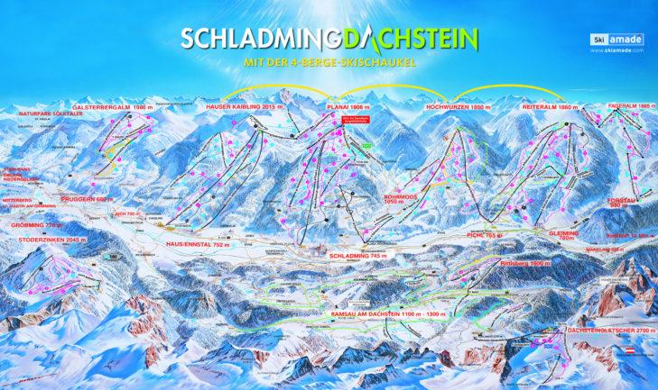 Plan nartostrad Schladming-Dachstein