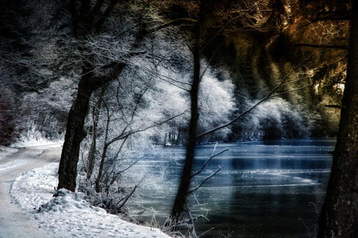 Malownicza trasa do wędrówek zimowych nad jeziorem.