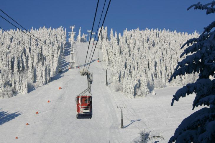 Historyczna gondola dowozi gości na sam szczyt.