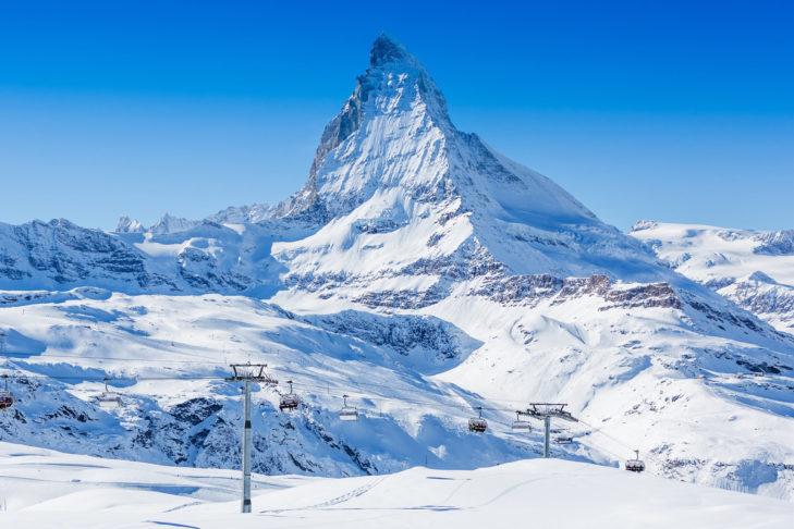 Jeden z najwyższych szczytów Alp: Matterhorn.